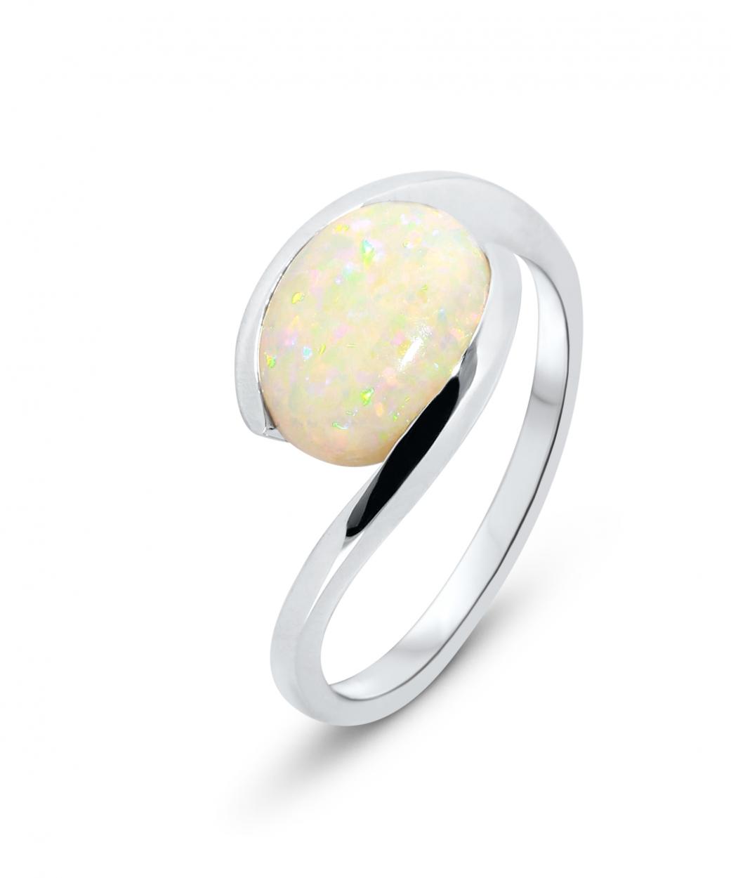 bague or blanc opale ovale 10x8mm ref 37157. Black Bedroom Furniture Sets. Home Design Ideas