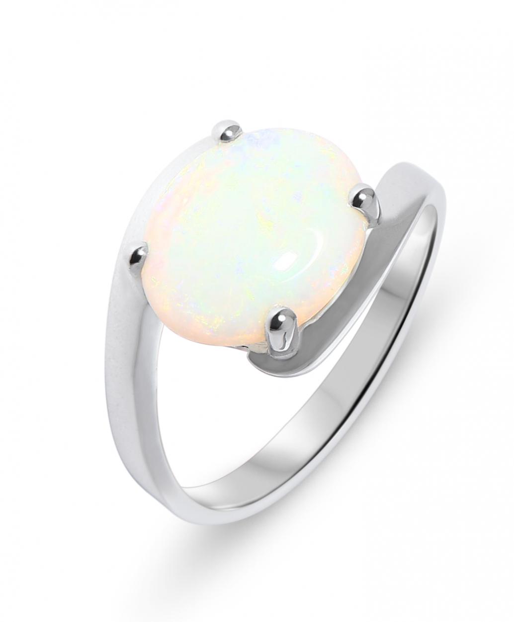 bague or blanc avec opale