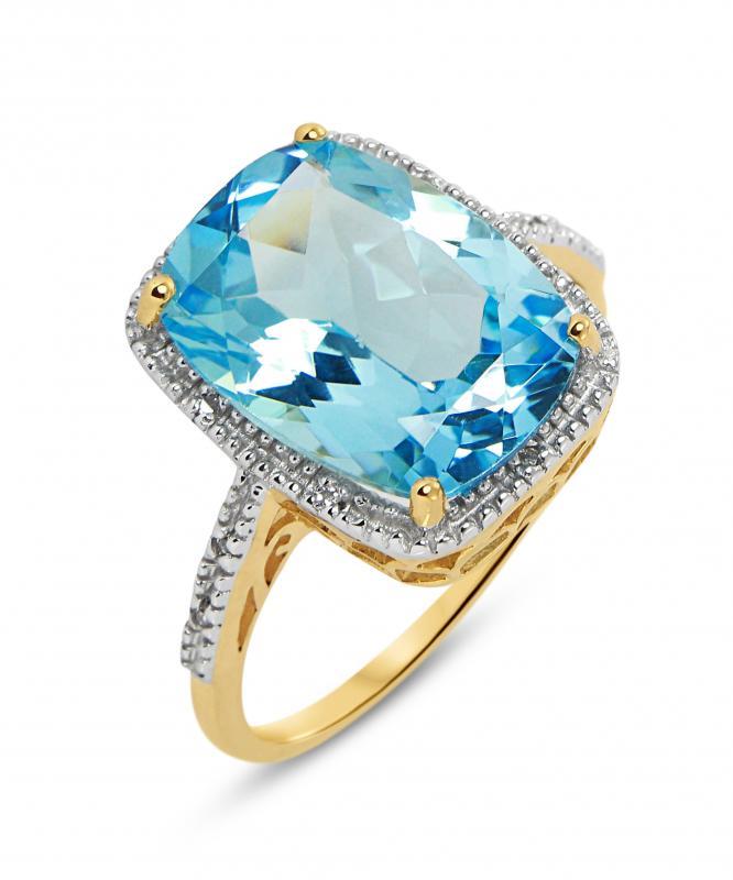 bague or jaune topaze bleu