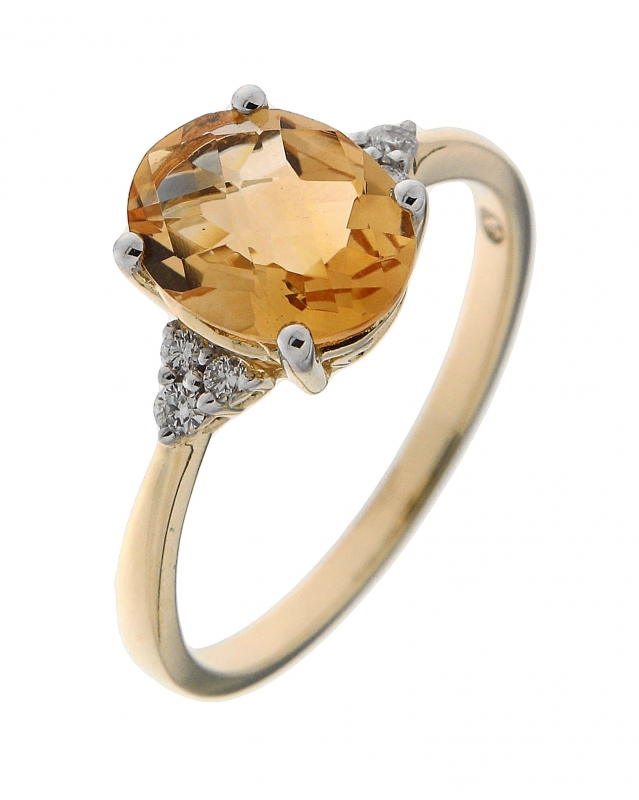 En commun Bague Or Jaune 750 Citrine Ovale 9x7mm et Diamant Ref. 42583 @SA_31