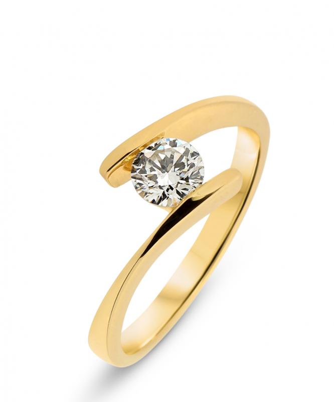 bague or jaune pavage diamants
