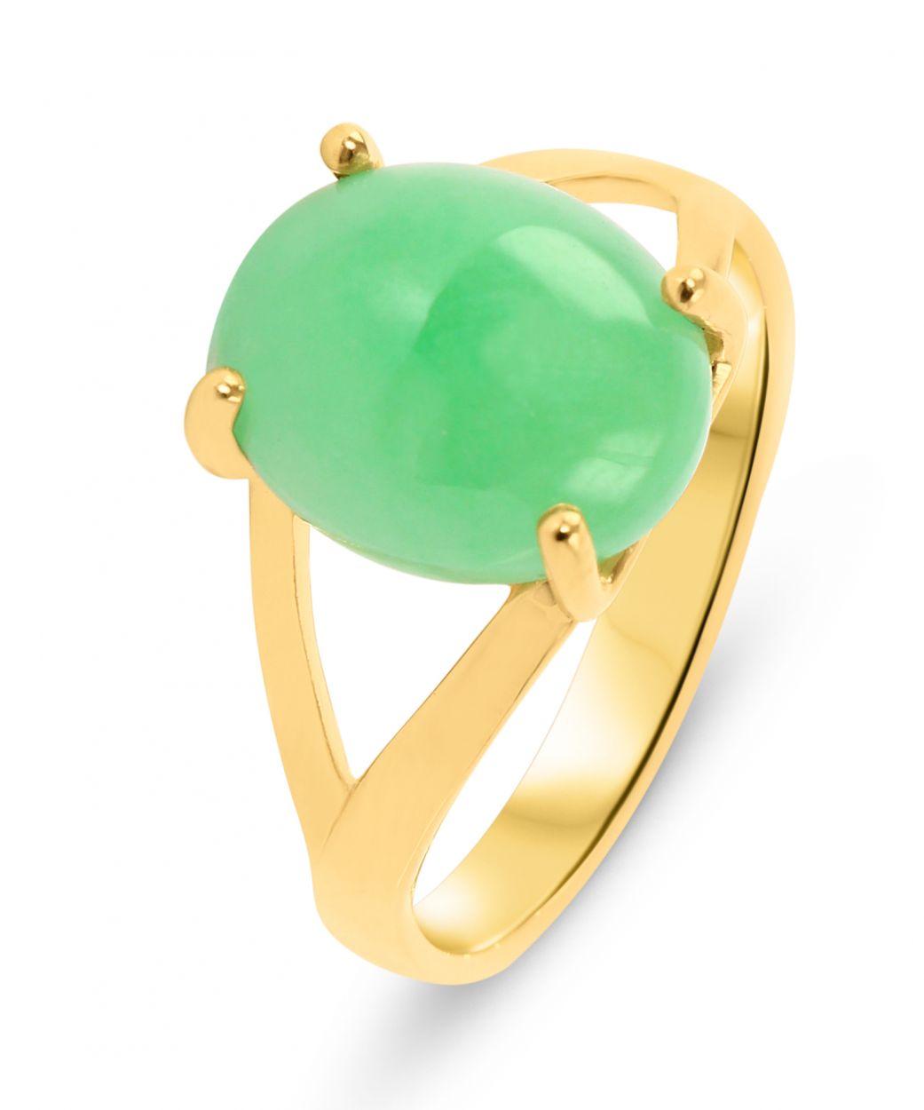 bague femme or et jade