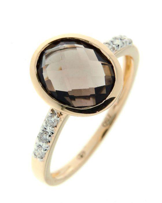 bague or jaune 750 quartz fum ovale 10x8mm et diamant ref. Black Bedroom Furniture Sets. Home Design Ideas