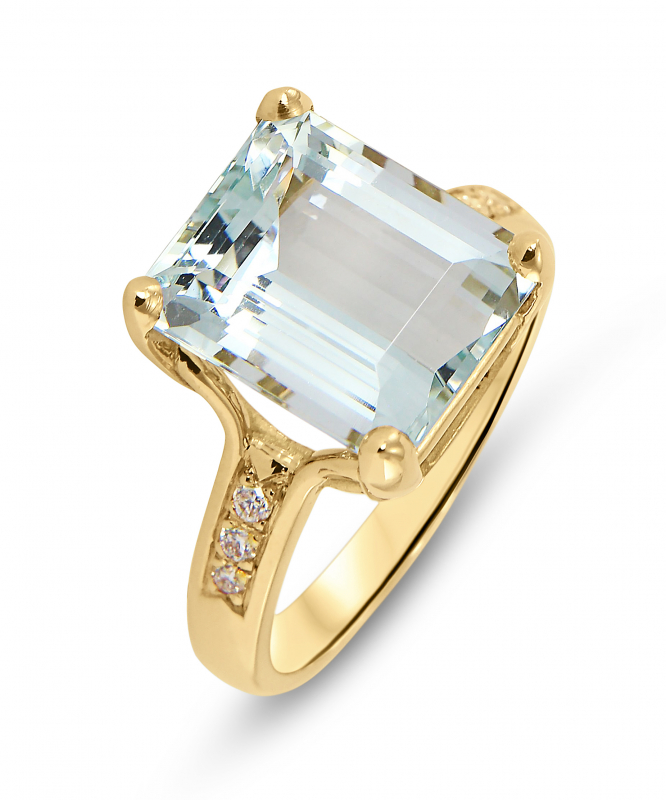 bague or jaune 18 carats aigue marine