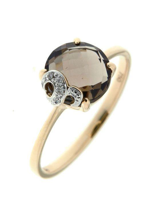 bague or jaune quartz fum rond 8mm et diamant ref 39443. Black Bedroom Furniture Sets. Home Design Ideas