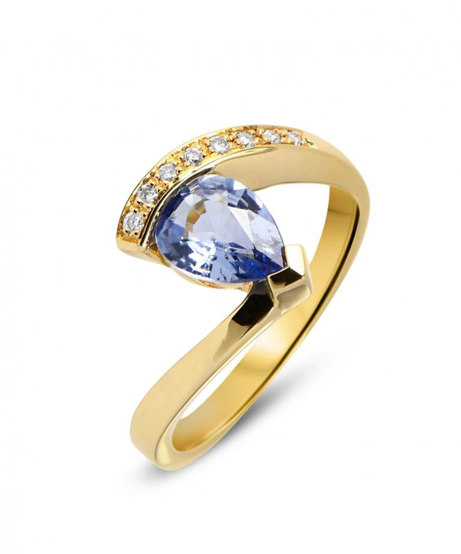 bague or jaune saphir et diamants