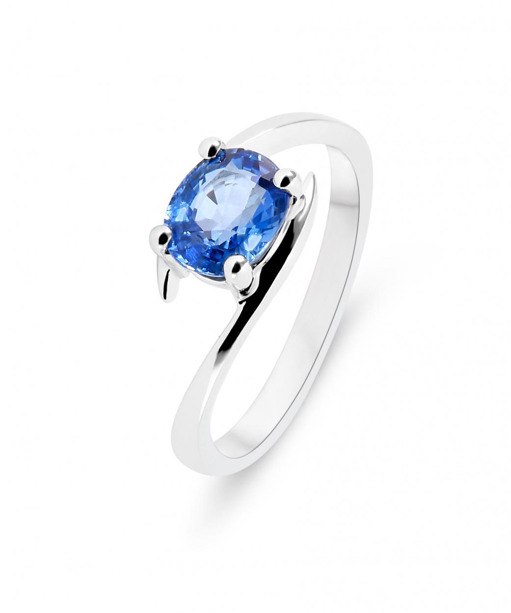 CM-RM2589W-07 10k Or Blanc Ovale Rubis et Diamant Vague Bague