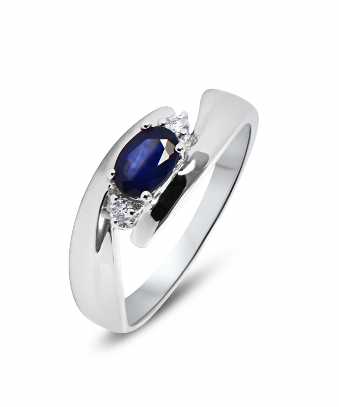Souvent Bague Saphir Or Blanc et Diamants Ref. 30356 IP07