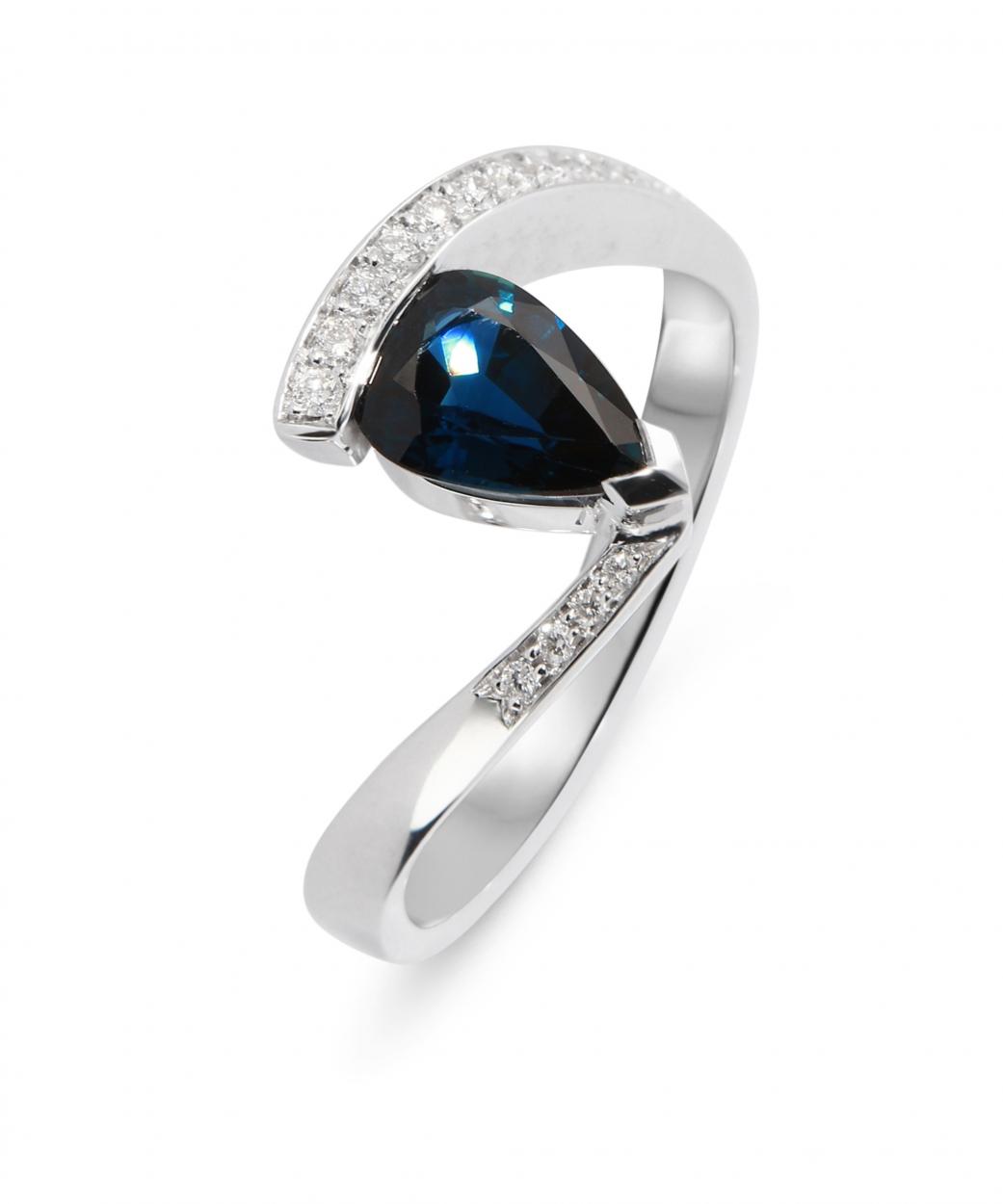 Connu Bague Saphir Poire 8x6mm et Diamant Or Blanc Ref. 33219 UR26