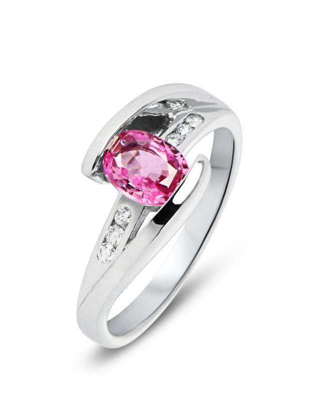 bague saphir rose ovale et diamant or blanc ref 34564. Black Bedroom Furniture Sets. Home Design Ideas