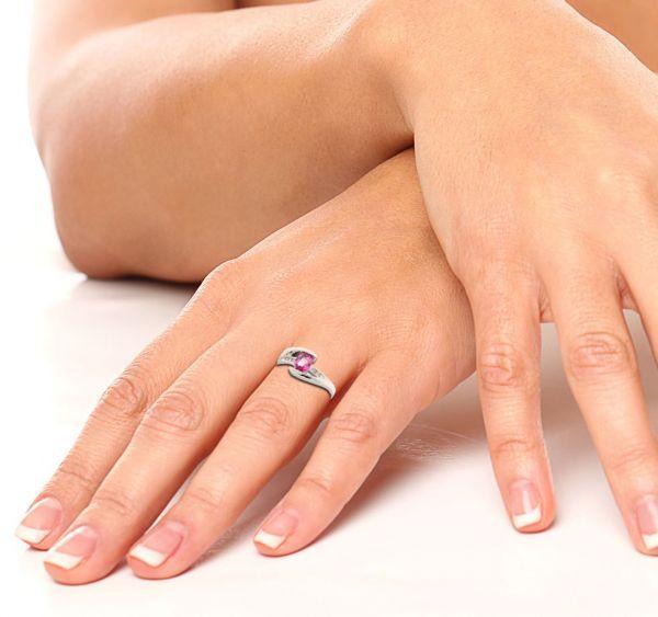 60eda656948 Bague Saphir Rose Ovale et Diamant Or Blanc Ref. 34564