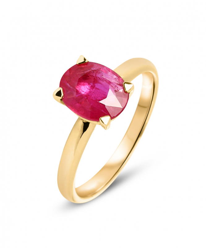 bague solitaire rubis or jaune