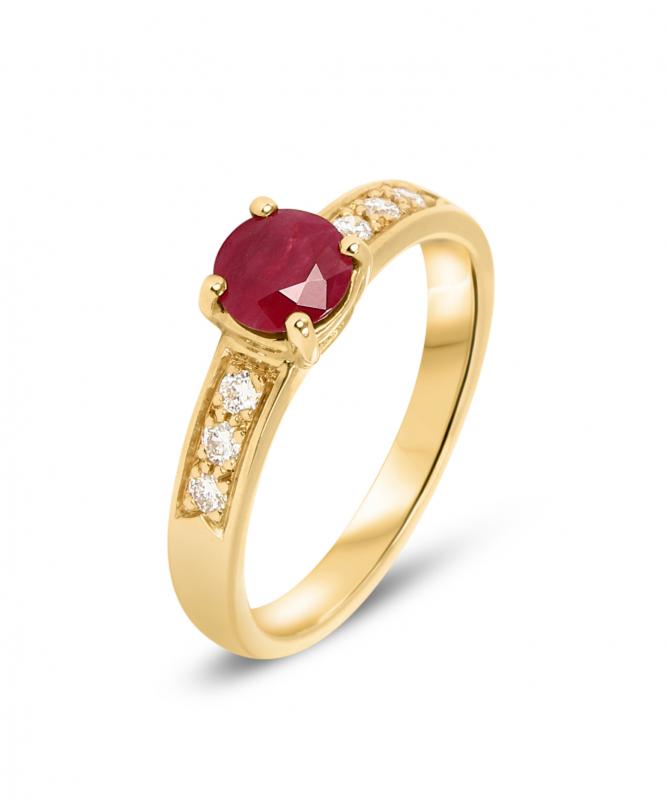 bague or jaune rubis et diamant