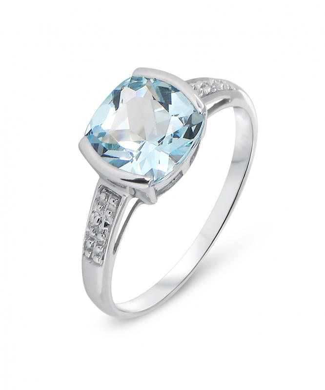 Bien connu Bague Topaze bleue traitée Coussin 8mm et Diamant en Or Blanc 375  MJ79