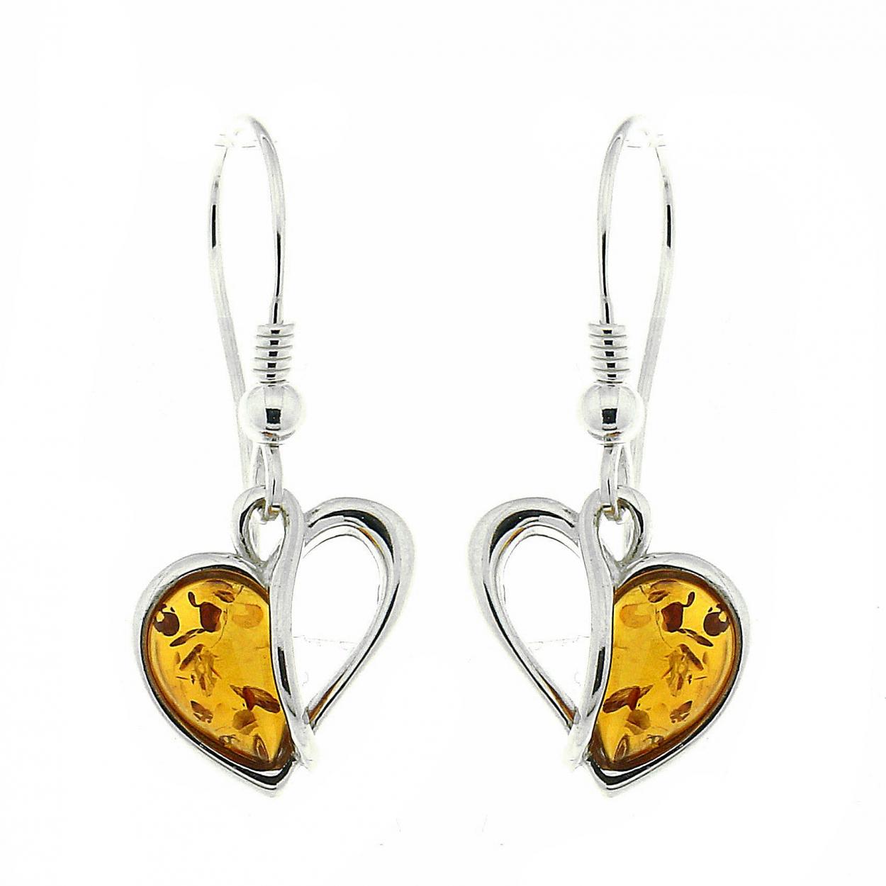 boucles d 39 oreilles ambre coeur et argent 925 ref 42358. Black Bedroom Furniture Sets. Home Design Ideas