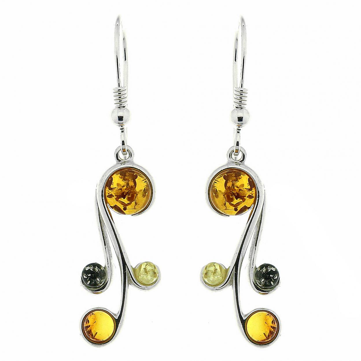 Boucles d 39 oreilles ambre multicolore et argent 925 ref 42356 - Fermoir boucle d oreille argent ...