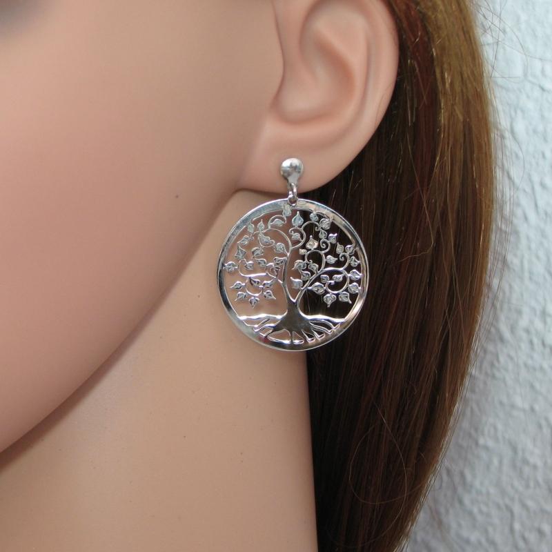 Boucles d 39 oreilles arbre de vie en argent 925 rhodi ref 42994 - Fermoir boucle d oreille argent ...