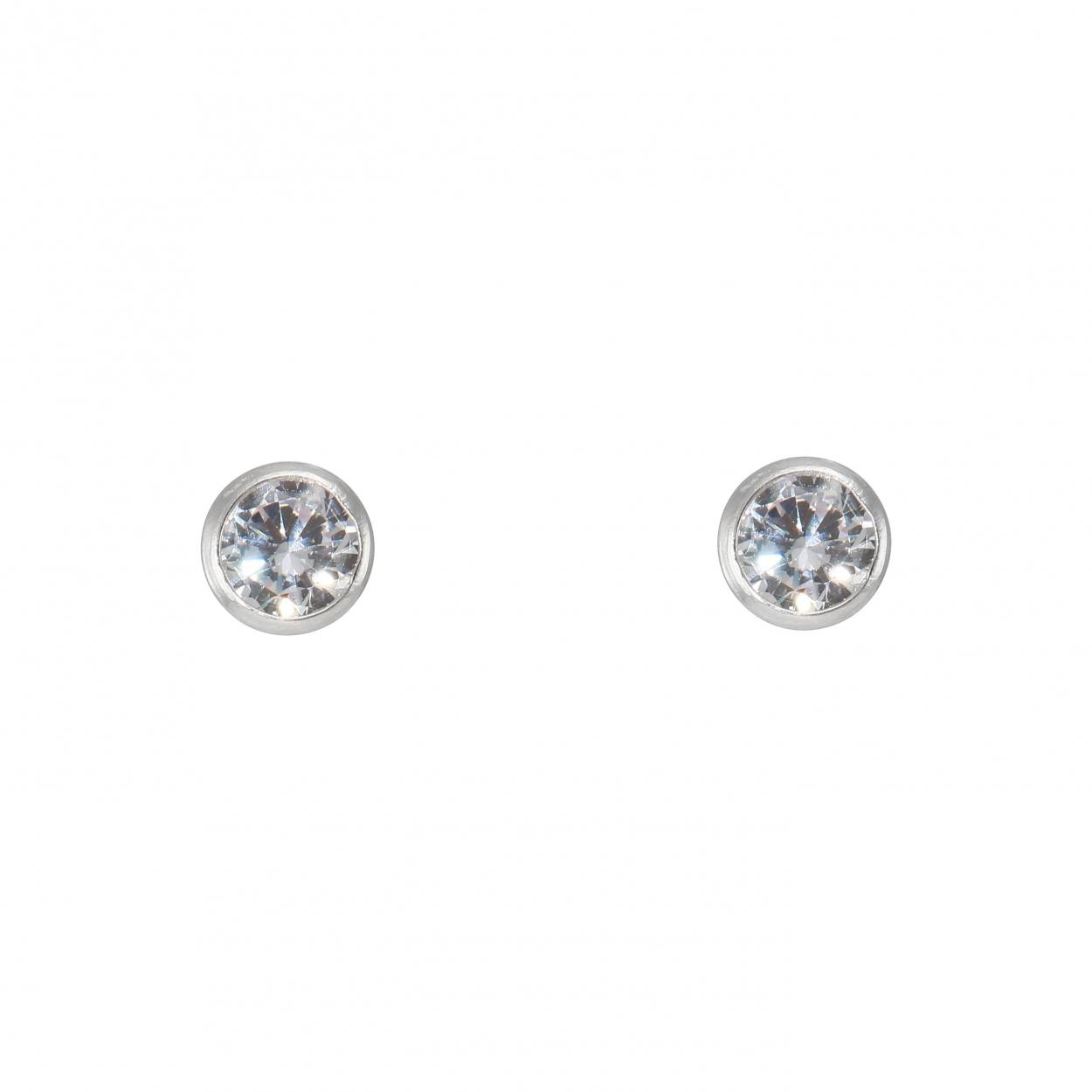 8cc6ccf9a23a Ref   40581. Boucles d oreilles Argent Oxyde de Zirconium 5mm