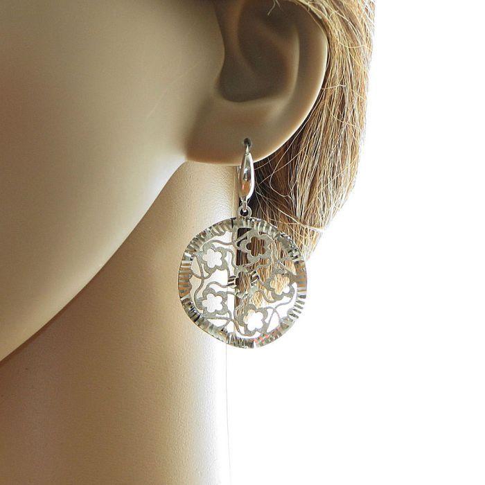 Boucles d 39 oreilles argent rhodi motifs fleurs ref 39898 - Fermoir boucle d oreille argent ...