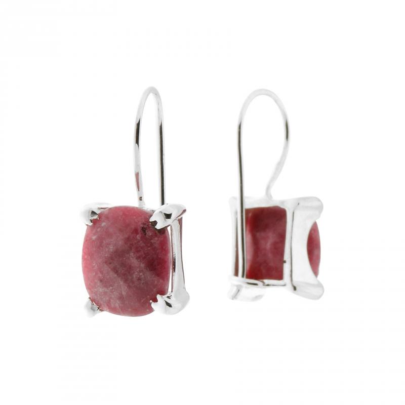 Boucles d oreilles Argent Rhodonite Rectangulaires 12x10mm - Bijoux Femme