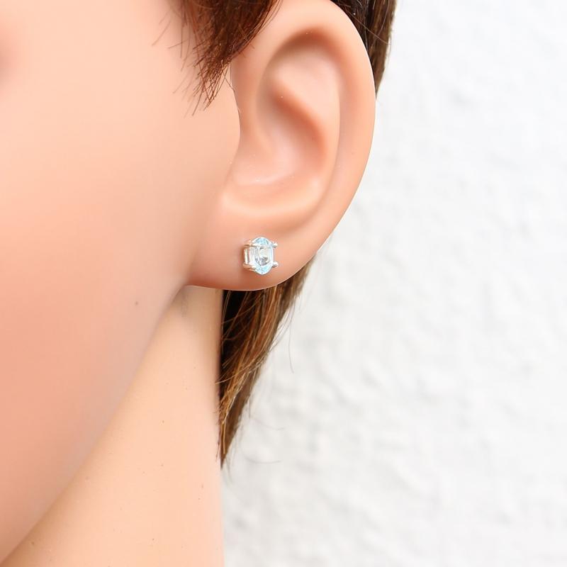 boucles d 39 oreilles argent topaze bleue trait e ovale 6x4. Black Bedroom Furniture Sets. Home Design Ideas