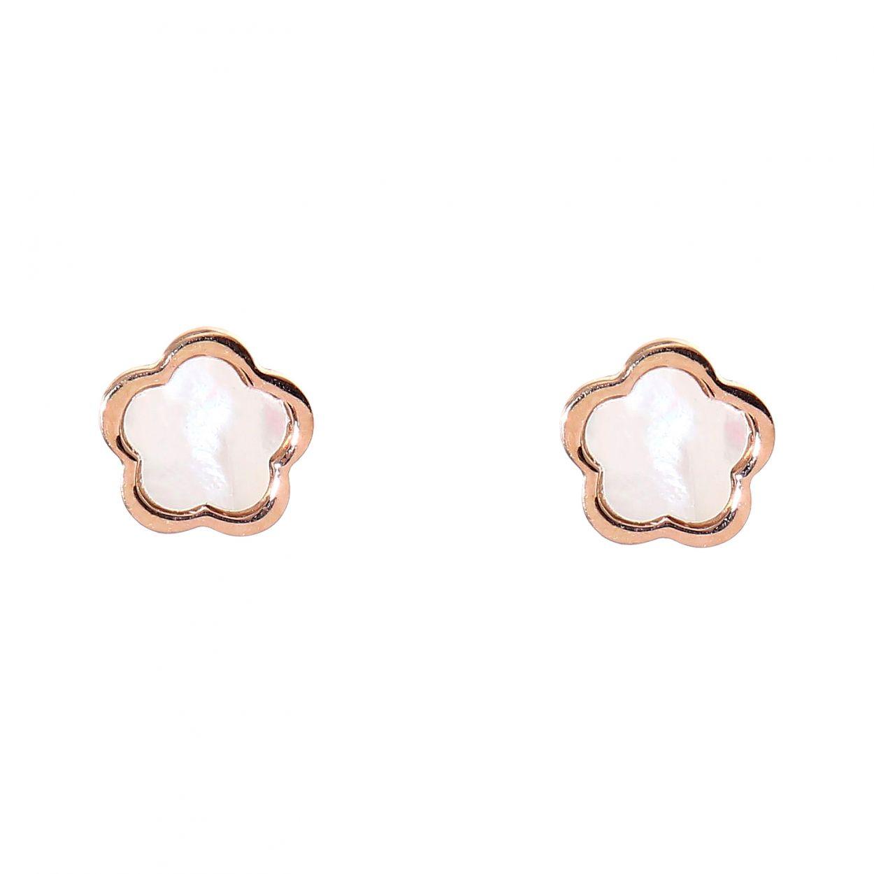 Boucles d oreilles clouargent rhodié fleur et nacre Ref. 46861 97f83e91e4e