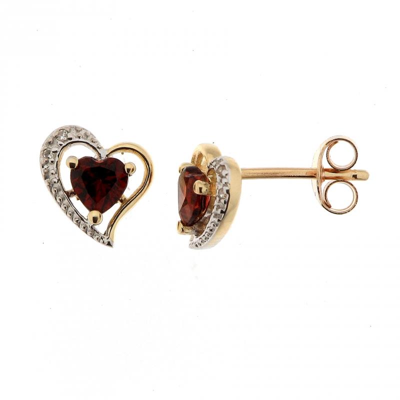 boucles d 39 oreilles coeur grenat et diamant en or jaune 375 ref 34602. Black Bedroom Furniture Sets. Home Design Ideas
