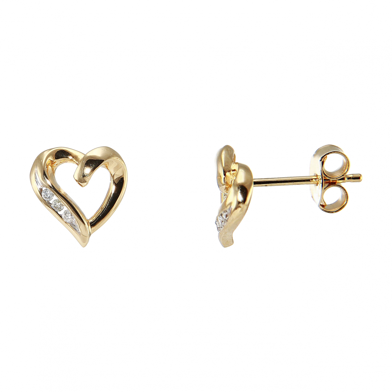 boucles d 39 oreilles coeur or jaune diamant ref 28729. Black Bedroom Furniture Sets. Home Design Ideas
