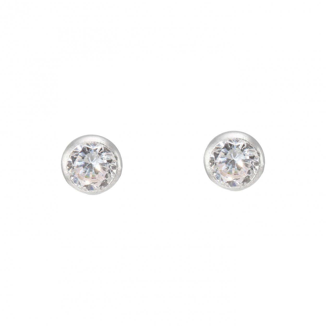 754961935e5e Boucles d oreilles en Argent 925 et Oxyde de Zirconium Rond 6mm