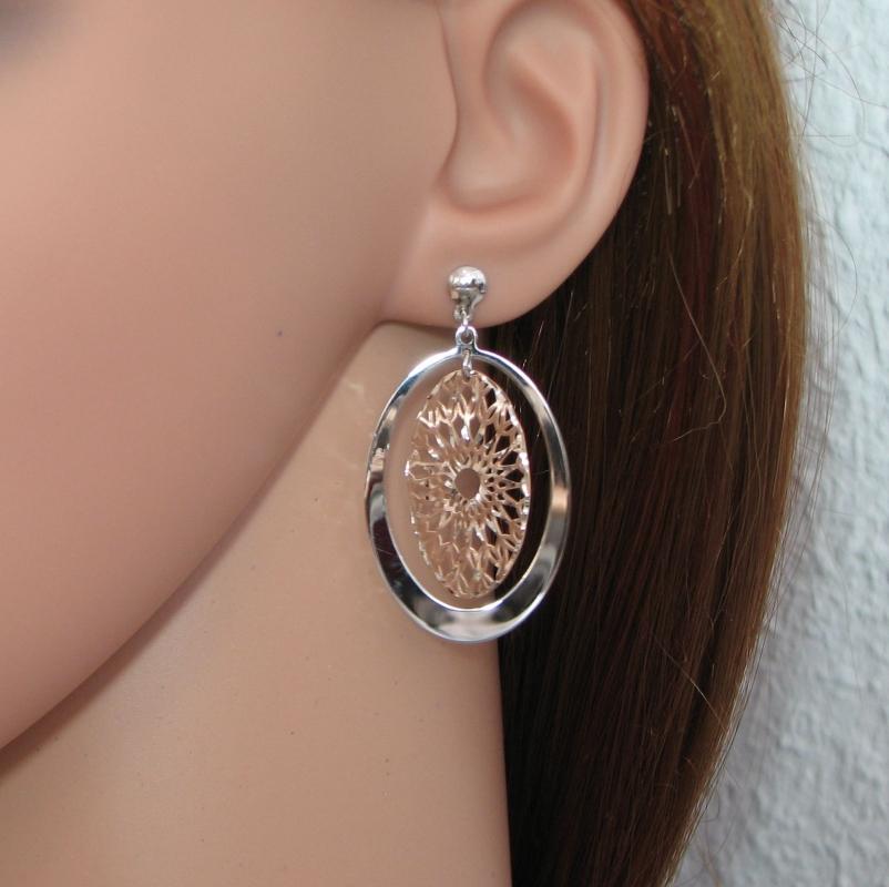 boucle d'oreille argent rose