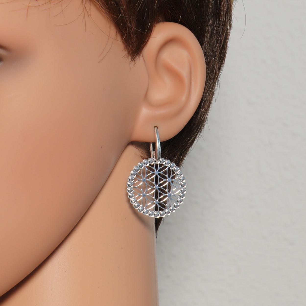Boucles d oreilles fleur de vie en Argent 925 Rhodié Ref. 41129 1604799ed0a