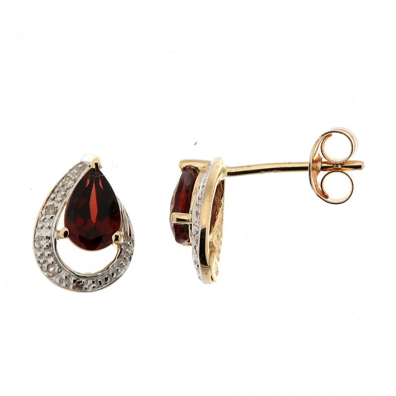 boucles d 39 oreilles grenat poire 6x4mm et diamant en or jaune 375 ref 34599. Black Bedroom Furniture Sets. Home Design Ideas