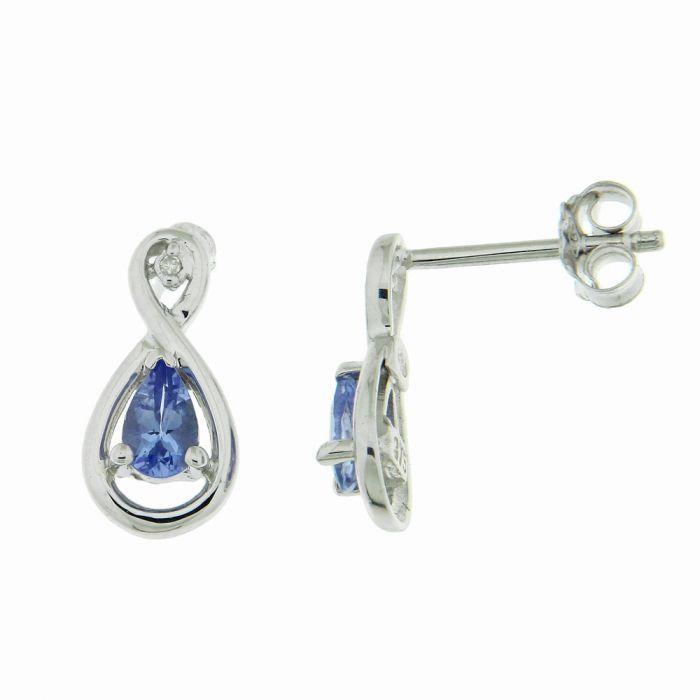 4aea4b8c8b0 Boucles d oreilles Or Blanc 375 Tanzanite Poire et Diamant Ref. 39618