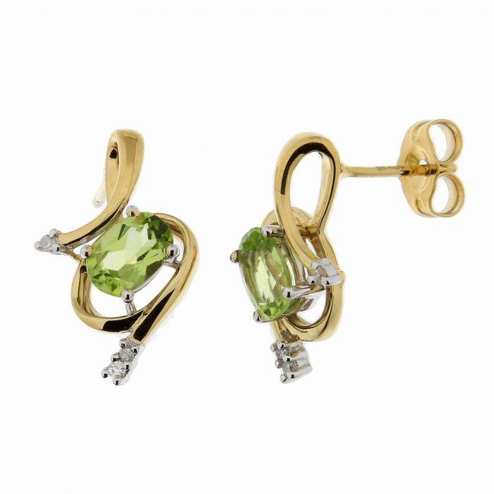 boucles d 39 oreilles or jaune 375 p ridot ovale et diamant ref 39742. Black Bedroom Furniture Sets. Home Design Ideas