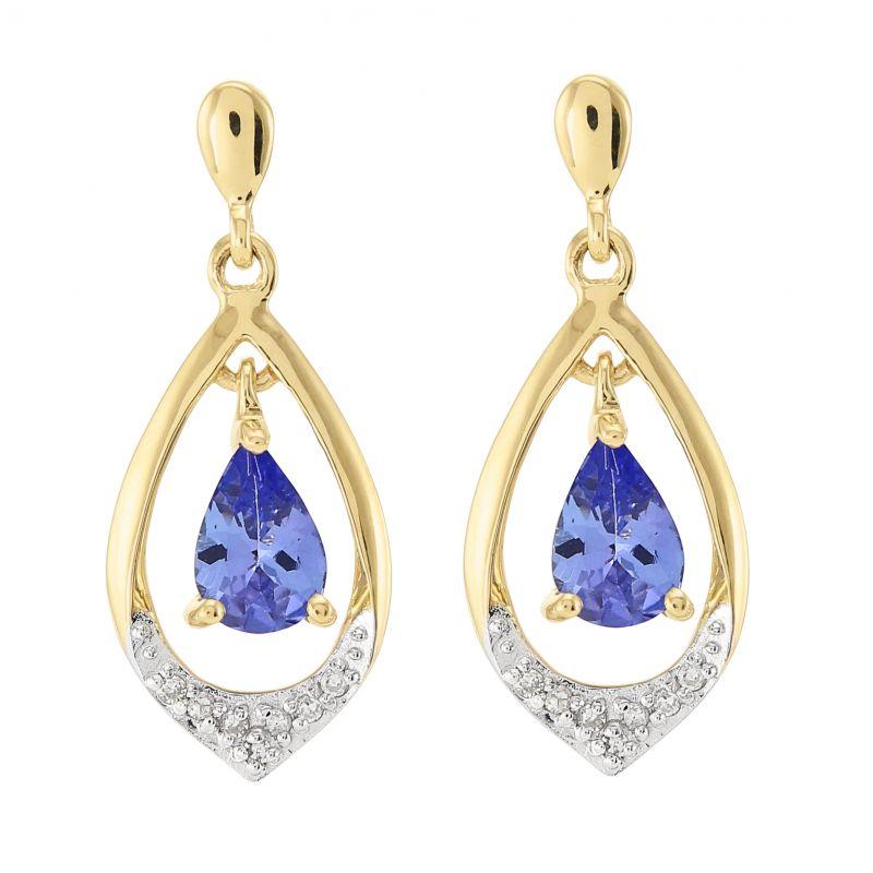 c5303545780 Boucles d oreilles Or jaune 375 Tanzanite poire 6x4mm et diamant Ref ...