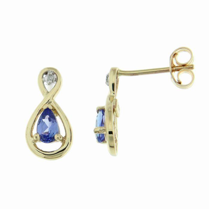 b8971a9a4e2 Boucles d oreilles Or Jaune 375 Tanzanite Poire et Diamant Ref. 39610
