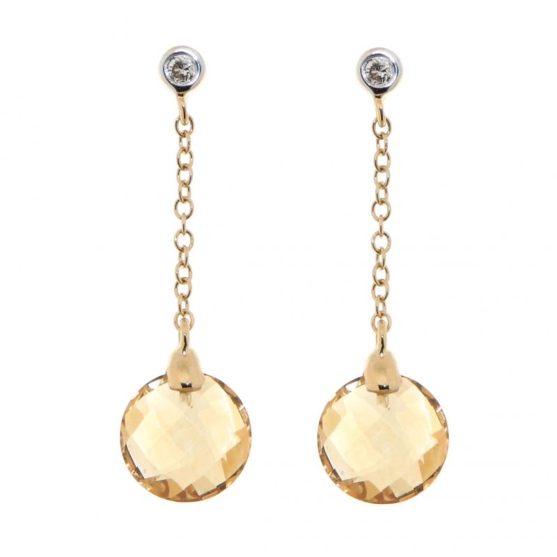 boucles d 39 oreilles or jaune 750 pendantes citrine et. Black Bedroom Furniture Sets. Home Design Ideas