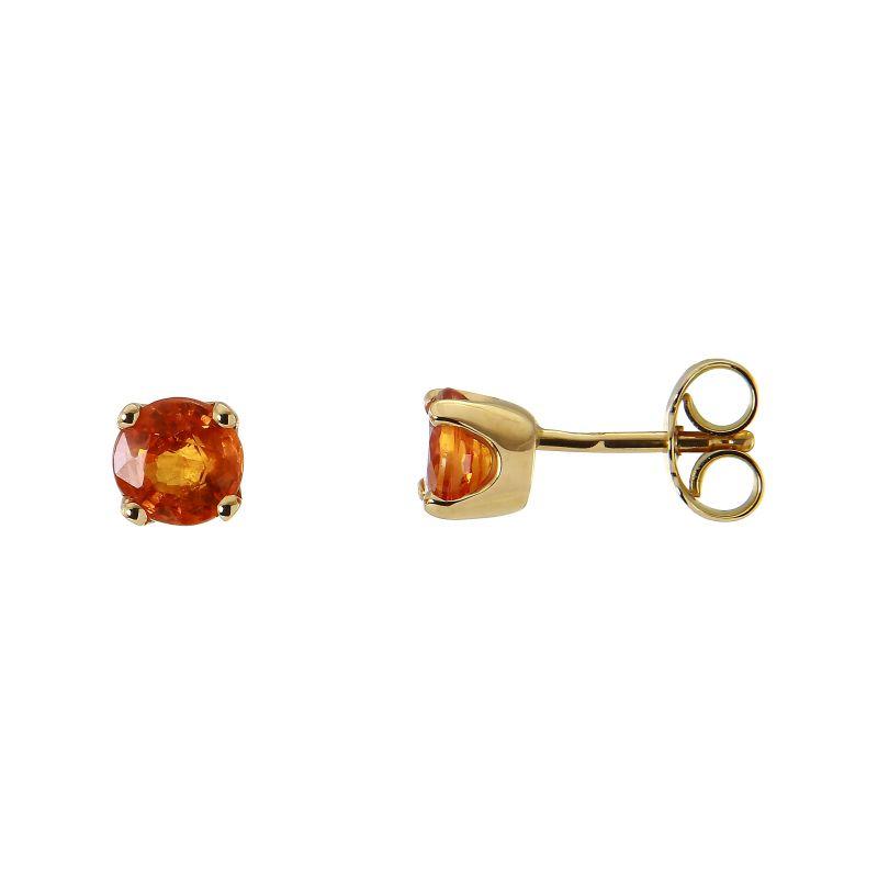 original super service prix de liquidation Boucles d'oreilles Or Jaune 750 Saphir orange Traité Ref. 44884 |  Bijouterie Trabbia Vuillermoz