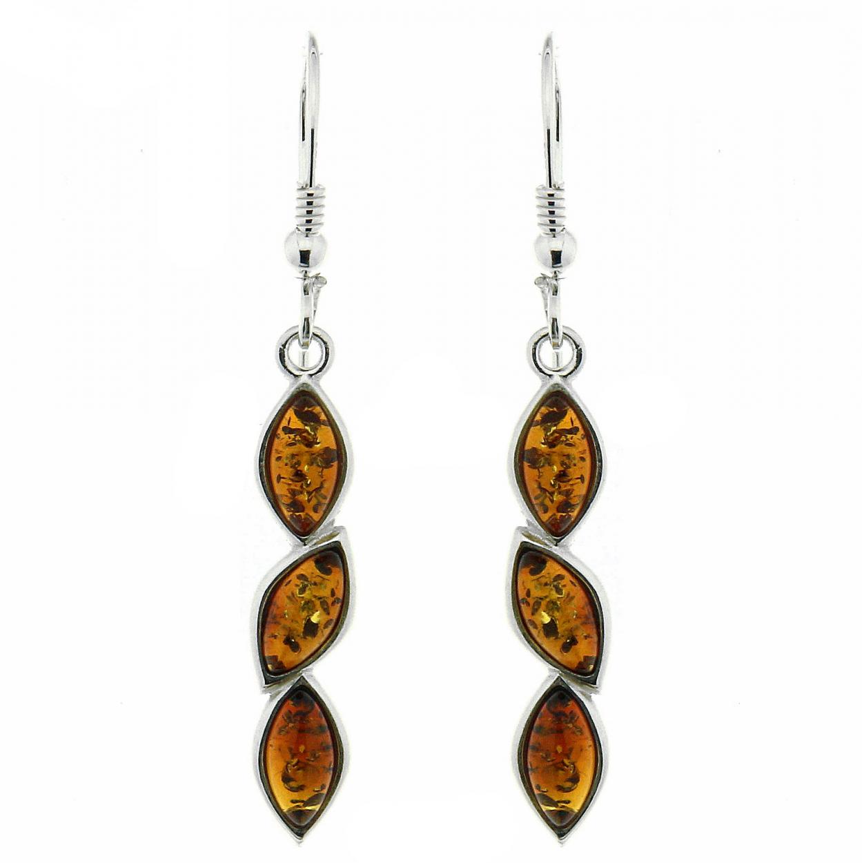Boucles d 39 oreilles pendantes ambre et argent 925 ref 42368 - Fermoir boucle d oreille argent ...