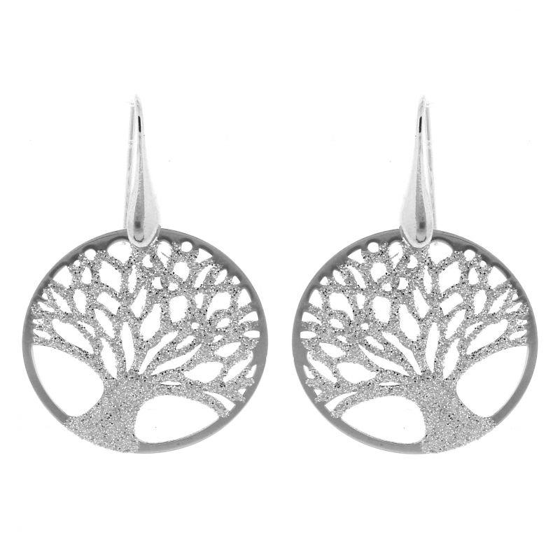 Boucles d 39 oreilles pendantes arbre de vie en argent 925 ref 41972 - Fermoir boucle d oreille argent ...