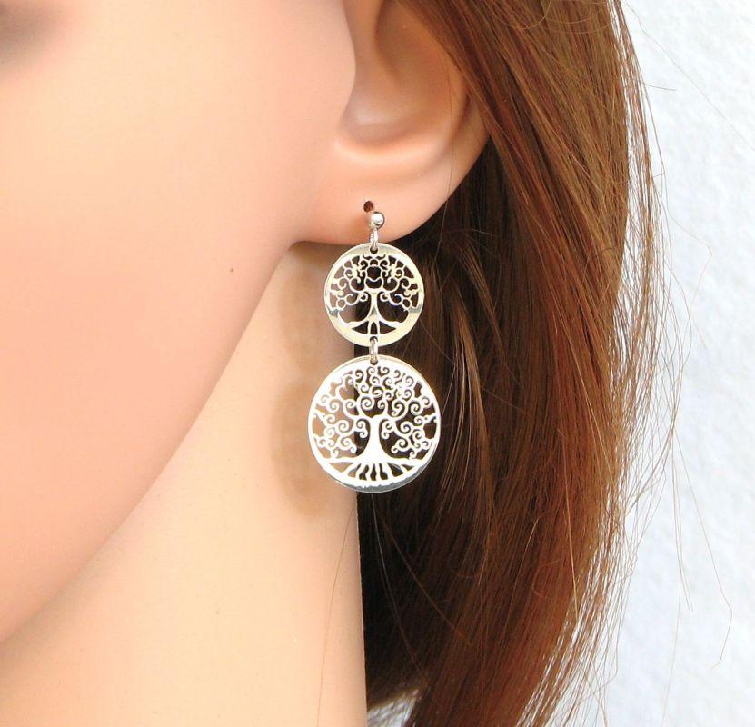 Boucles d oreilles pendantes Arbre de vie en Argent 925 Ref. 41132 a311f95878c