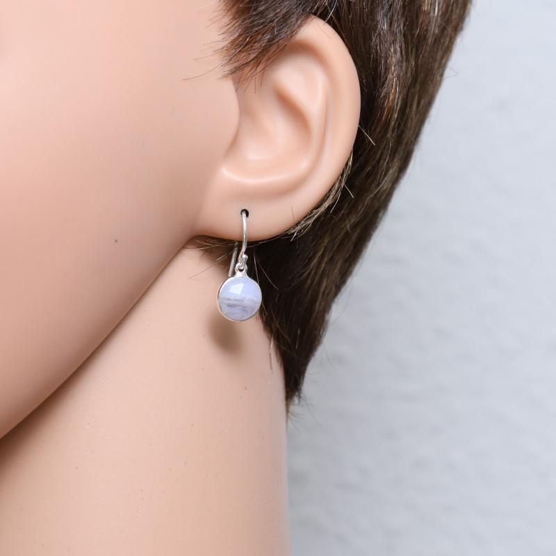 boucles d 39 oreilles pendantes argent 925 calc doine bleue ronde facett e 9mm ref 44935. Black Bedroom Furniture Sets. Home Design Ideas