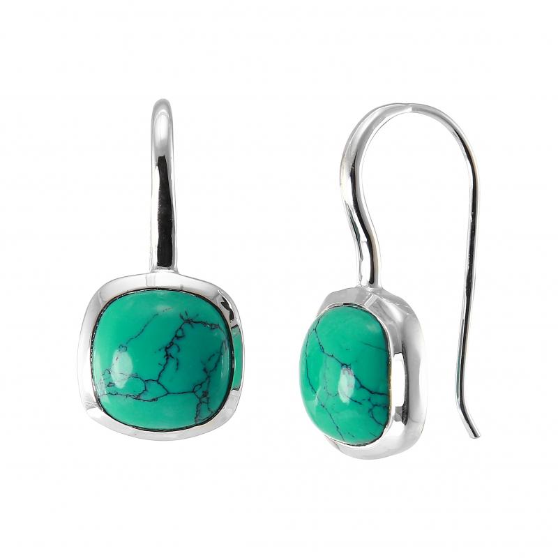 Boucles d 39 oreilles pendantes argent 925 turquoise reconstitu e coussin 10x10mm ref 44985 - Fermoir boucle d oreille argent ...