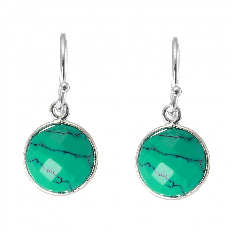 boucles d 39 oreilles pendantes argent 925 turquoise reconstitu e ronde facett e 9mm ref 44930. Black Bedroom Furniture Sets. Home Design Ideas