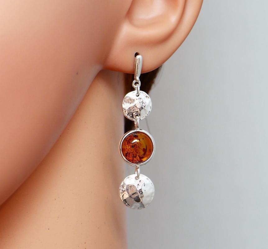 Boucles d 39 oreilles pendantes argent ambre ref 35619 - Fermoir boucle d oreille argent ...