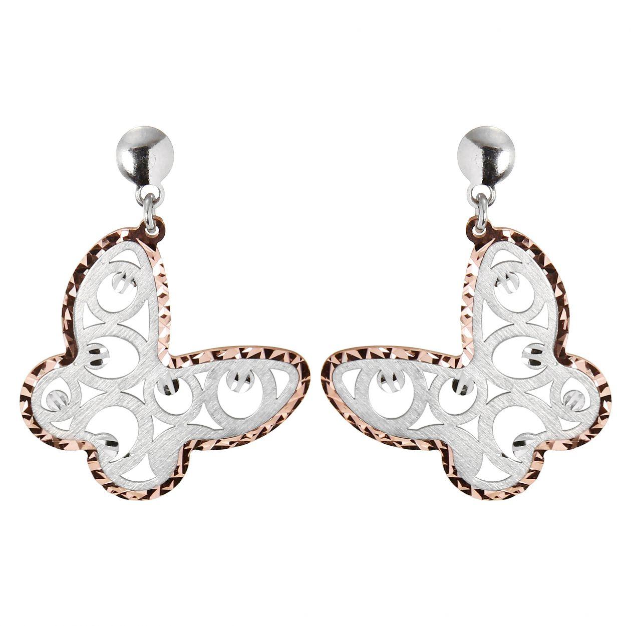 boucles d'oreilles pendantes papillons argent