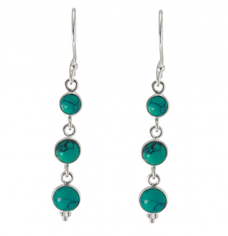 boucles d'oreilles pendantes turquoise