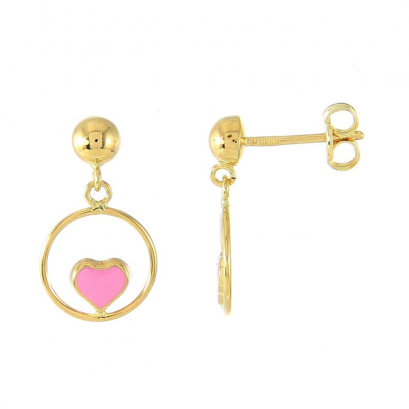 boucles d'oreilles pendantes coeur or