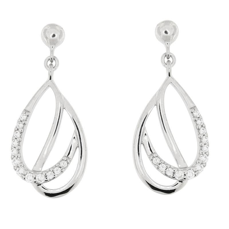 53da47658591 Boucles d oreilles pendantes en Argent 925 rhodié et oxyde de zirconium