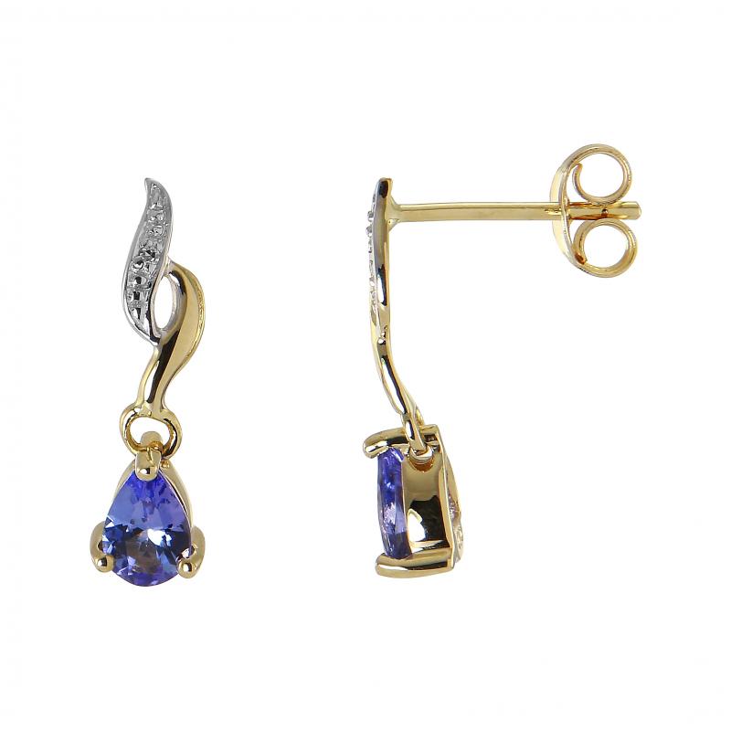 d5805ed848e Boucles d oreilles Pendantes Or blanc 375 Tanzanite et Diamant Ref ...